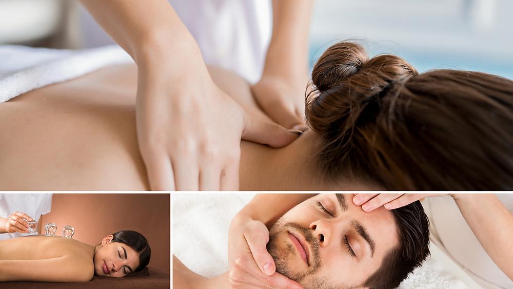 3 individuals receiving massages. Cupping, reflexology, deep tissue massage.