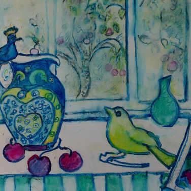 Hoopoe jug with yellow bird