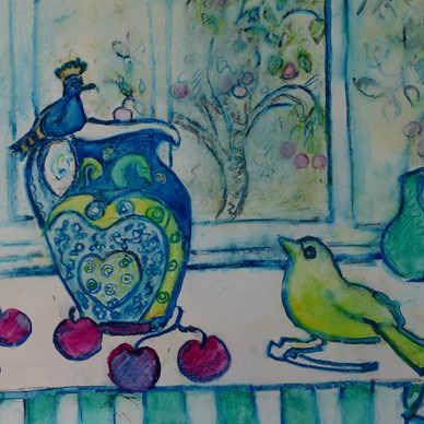 Hoopoe Jug and Yellow Bird