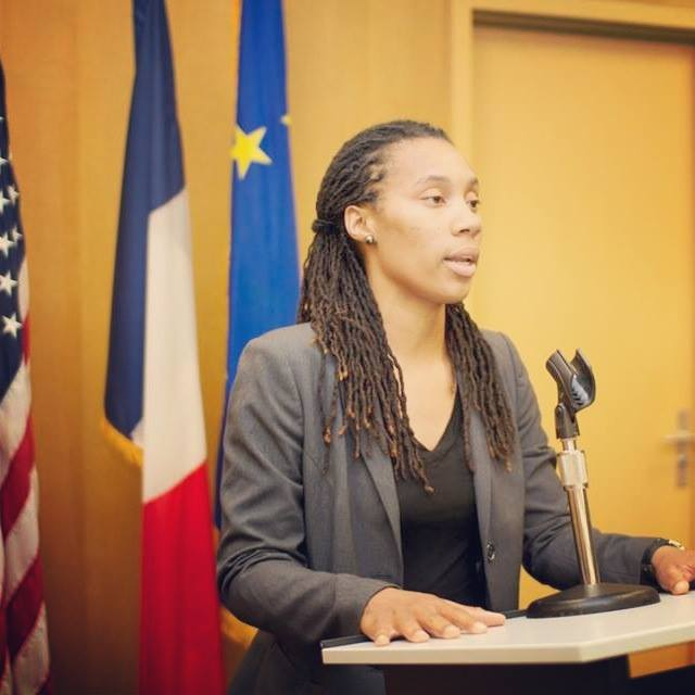 Trina speaks at French Embassy