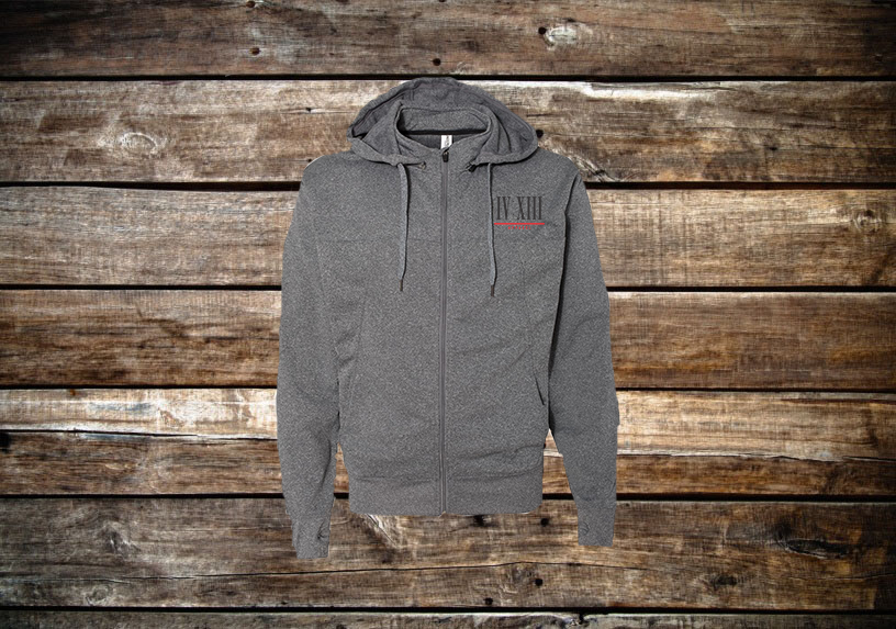 Zip-Up Embroidered Hoodie w/Removable Hood