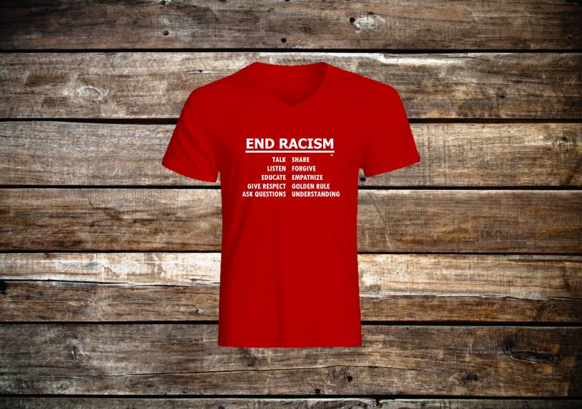 End Racism V-Neck Short Sleeve T Shirt