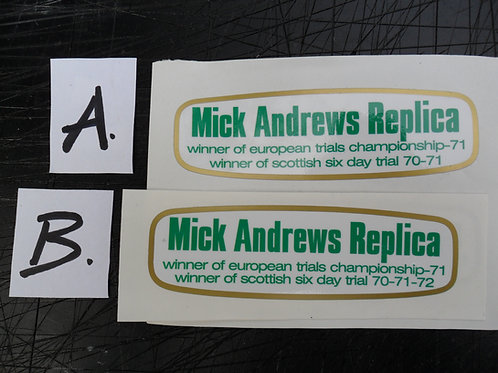 Ossa MAR 250 Twinshock Trials side panel decals -choose from x 2 types
