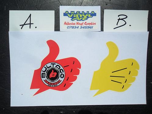 Bultaco Trials 'thumbs-up' logo stickers decals - universa l/ no.board / van