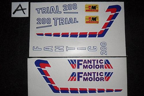 Fantic 200 / 240: Side Panel / tank / forks Sticker kit - Trials decals