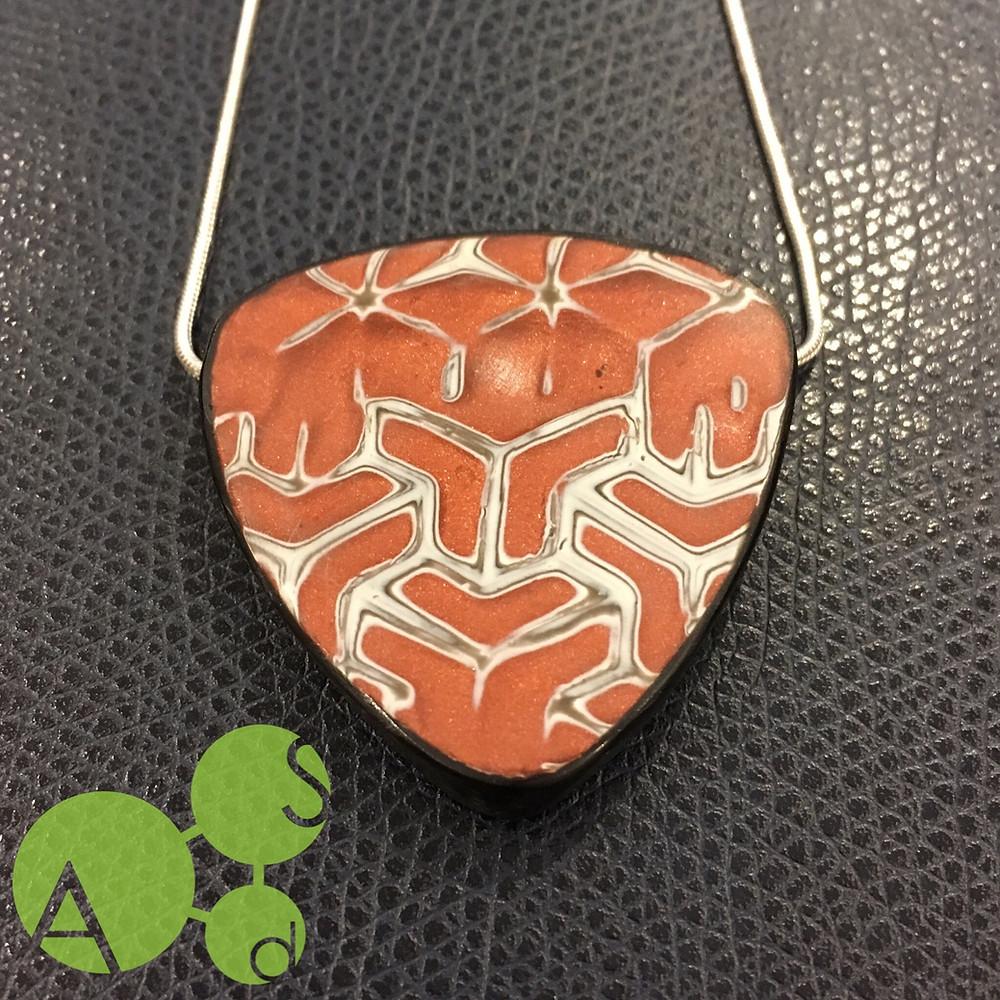 Copper Shibori Pendant on Sterling Chain