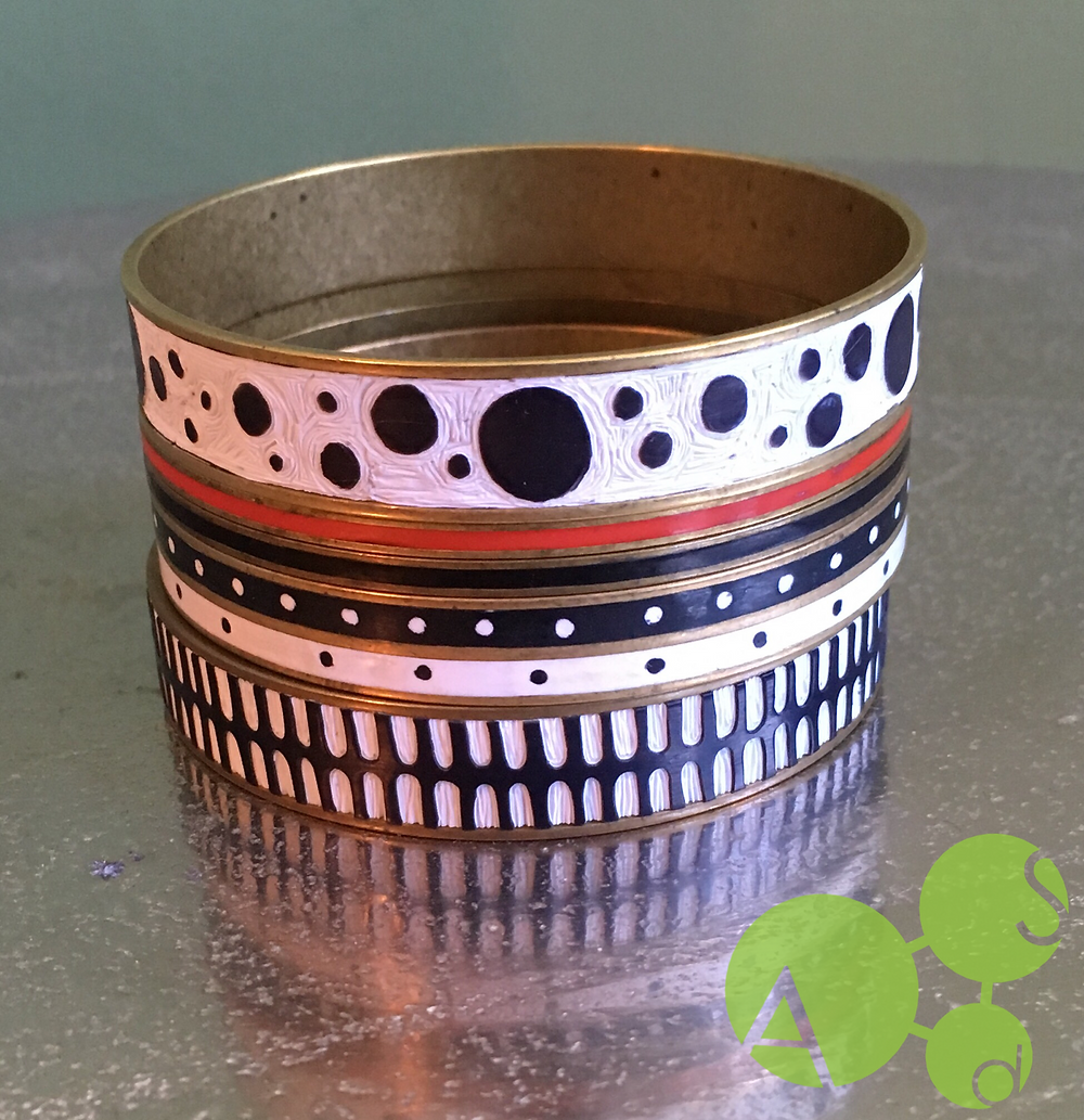 Polymer Clay Carved Inlaid Bangles