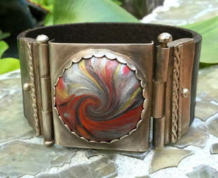 Sterling Silver Polymer Cabachon Leather Cuff