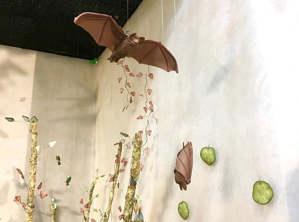 Polymer Clay Bats in Flight