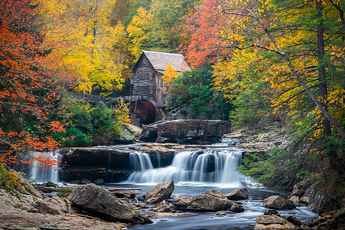 """""""Babcock State Park Autumn Scene"""" 16"""" x 24"""" Solid Faced Canvas Print"""