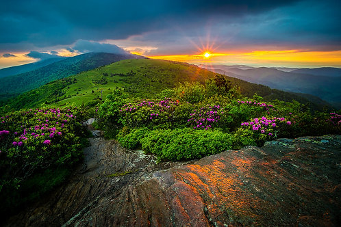 """""""Roan Mountain Evening Glow"""" 16"""" x 24"""" Solid Faced Canvas Print"""