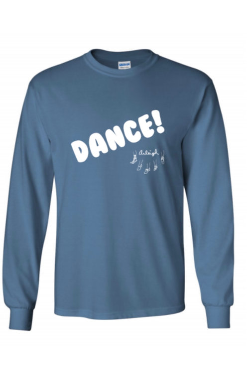 """Dance!"" Long Sleeve T-Shirt - Indigo Blue with White Print"