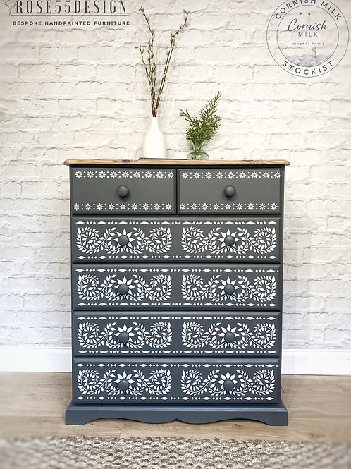 Solid pine grey chest of drawers with Indian Jaipur inlay design