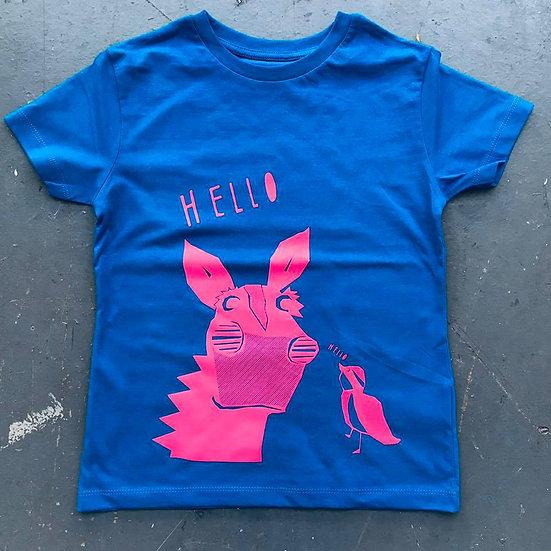 Organic Blue & Pink T-shirt (Age 3-4)