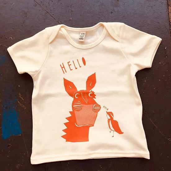 Organic Cream & Orange T-shirt (Age 12-18 months)