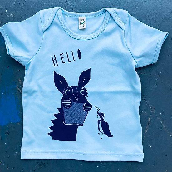 Organic Pale Blue & Navy T-shirt (Age 12-18 months)