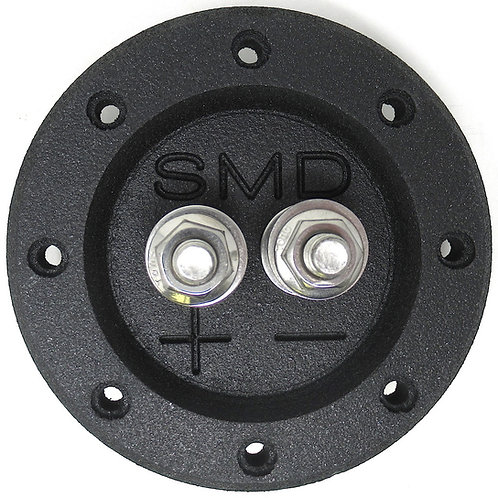 """SMD 1 Channel Heavy Duty Speaker Terminal (Stainless) (3/4"""" PVC Black) (Round)"""
