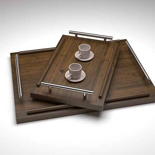 JANAPINE Handcrafted Provincial Wooden Tray