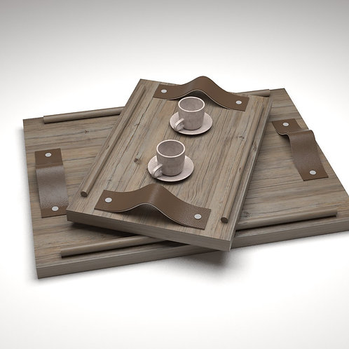 JANAPINE Handcrafted Carbon Gray Wooden Tray