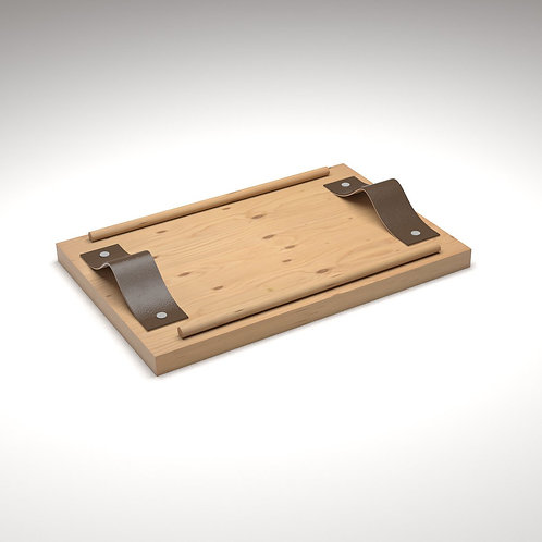 Handcrafted Small Wooden & Leather Tray - JANAPINE