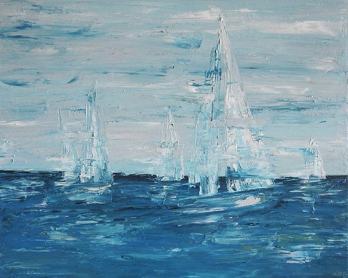 Sailing Boat Semi Abstract Painting