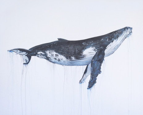 commissioned painting of a humpback whal