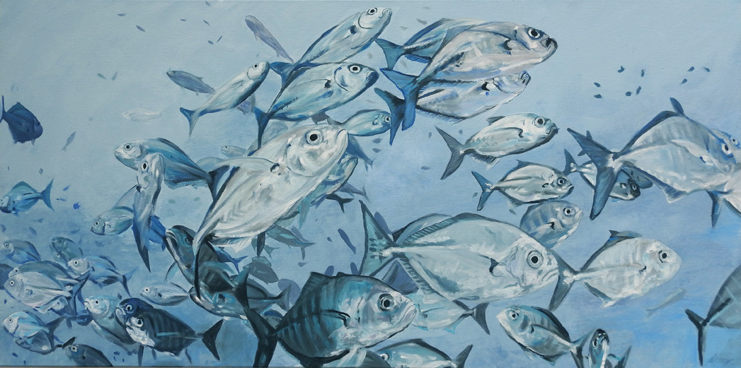 school of fish painting sold