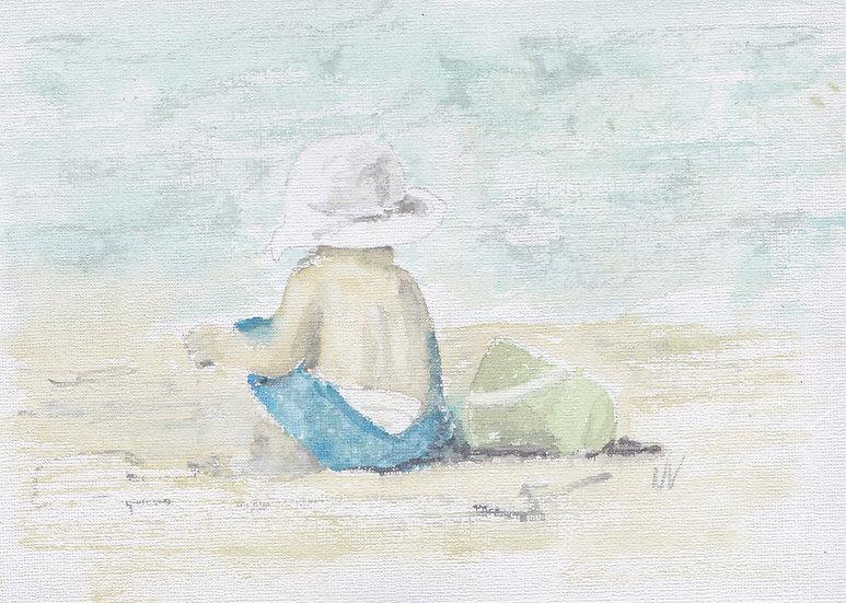 Little boy at the beach - Framed