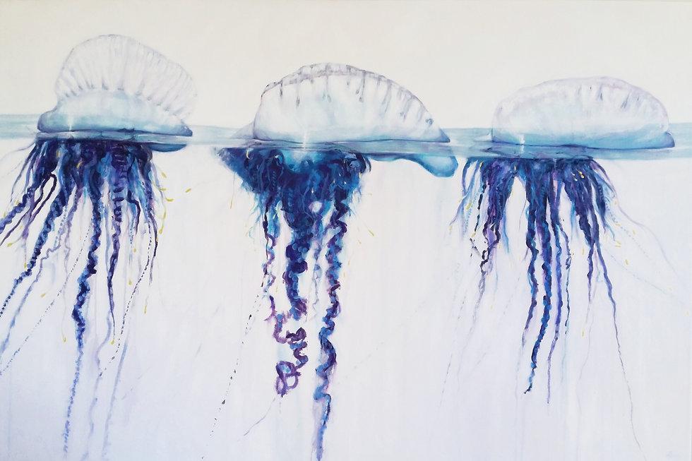 painting of bluebottles by Australian coastal artist Naomi Veitch. Beach art, wall art, coastal art