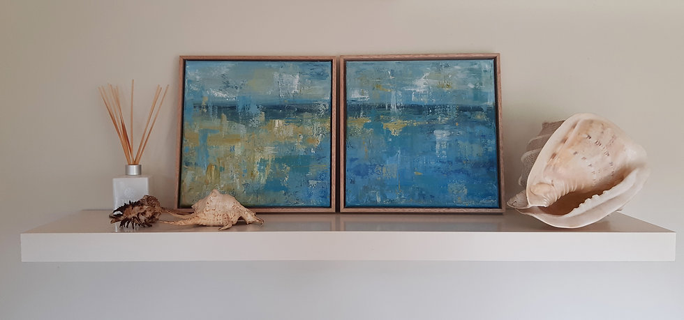 Beach Abstract Painting - Diptych - Framed
