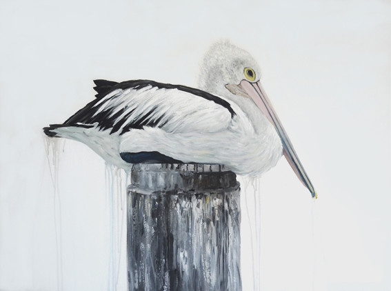 Pole Position pelican painting by Australian a