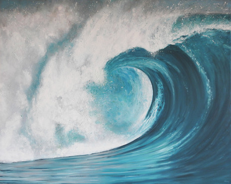 Large wave painting |beach house art by Naomi Veitch