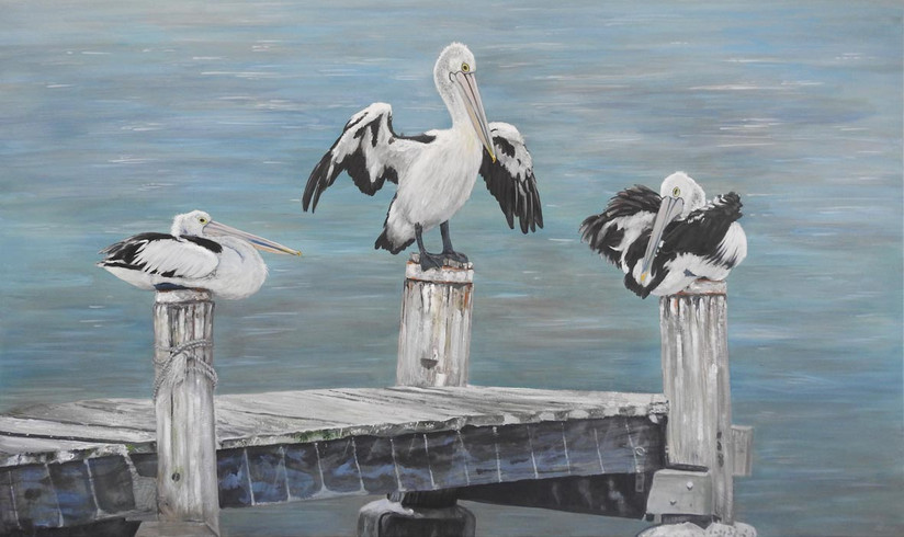 painting of 3 pelicans on old jetty.jpg