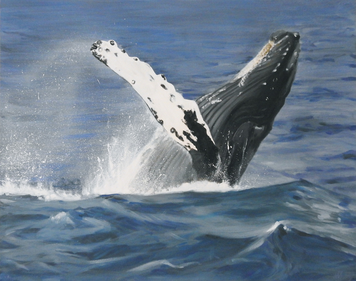 humpback whale Painting | beach house art | Naomi Veitch