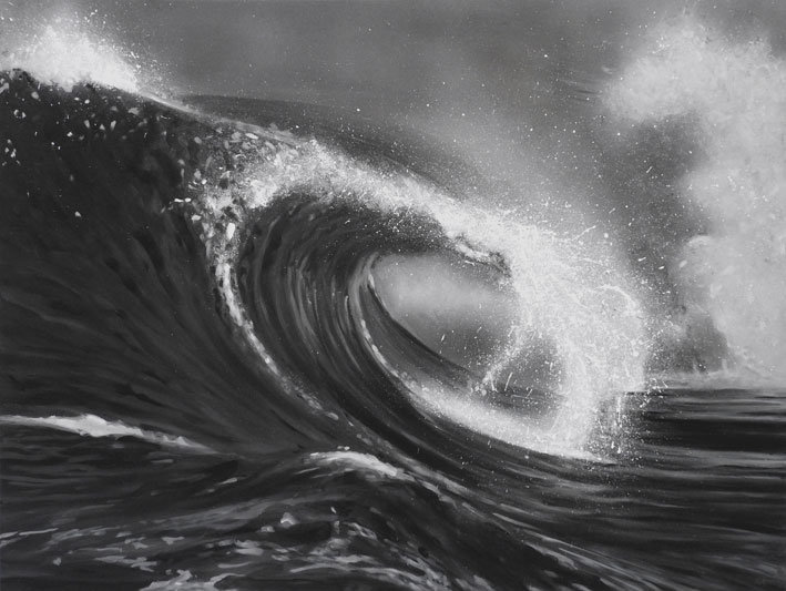 Black & White Wave Painting