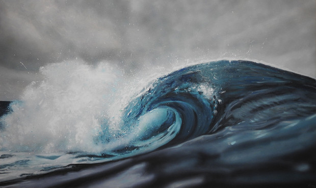 crashing wave on stormy day Painting | beach house art | Naomi Veitch