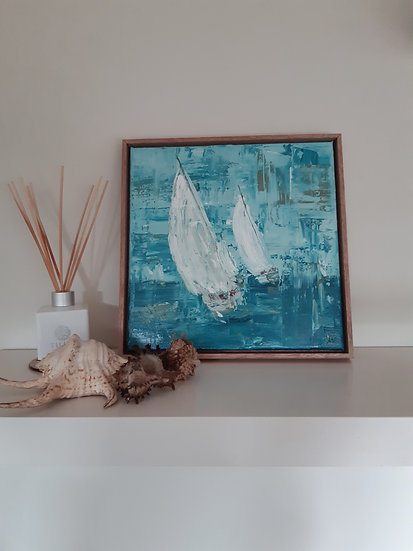 Sailing Boat Semi Abstract Painting - Framed