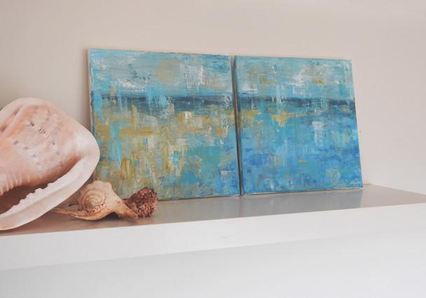 coastal abstract painting, beach house art