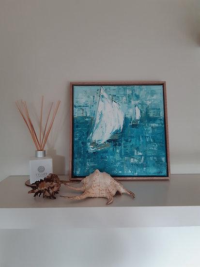 Sailing Boat Semi Abstract Painting - Framed