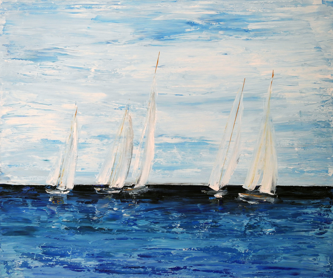 sailing boats at sea Painting | beach house art | Naomi Veitch