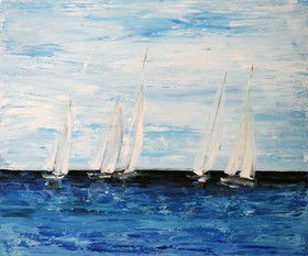 sailing bpat on water painting by naomi