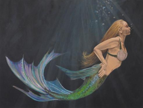 underwater mermaid Painting | beach house art | Naomi Veitch