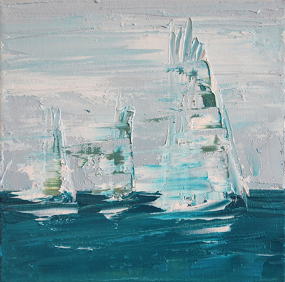Sailing Boat Semi Abstract Painting