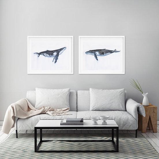 Whale Print Set  - Set of 2