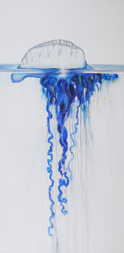 Bluebootle jellyfish painting sold