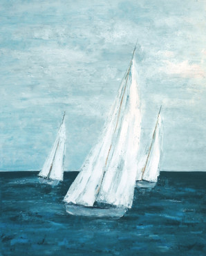 sailing boat painting |beach house art by Naomi Veitch