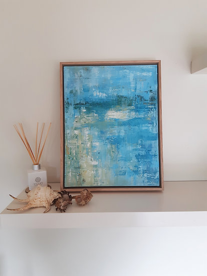 Beach Abstract Painting - Framed
