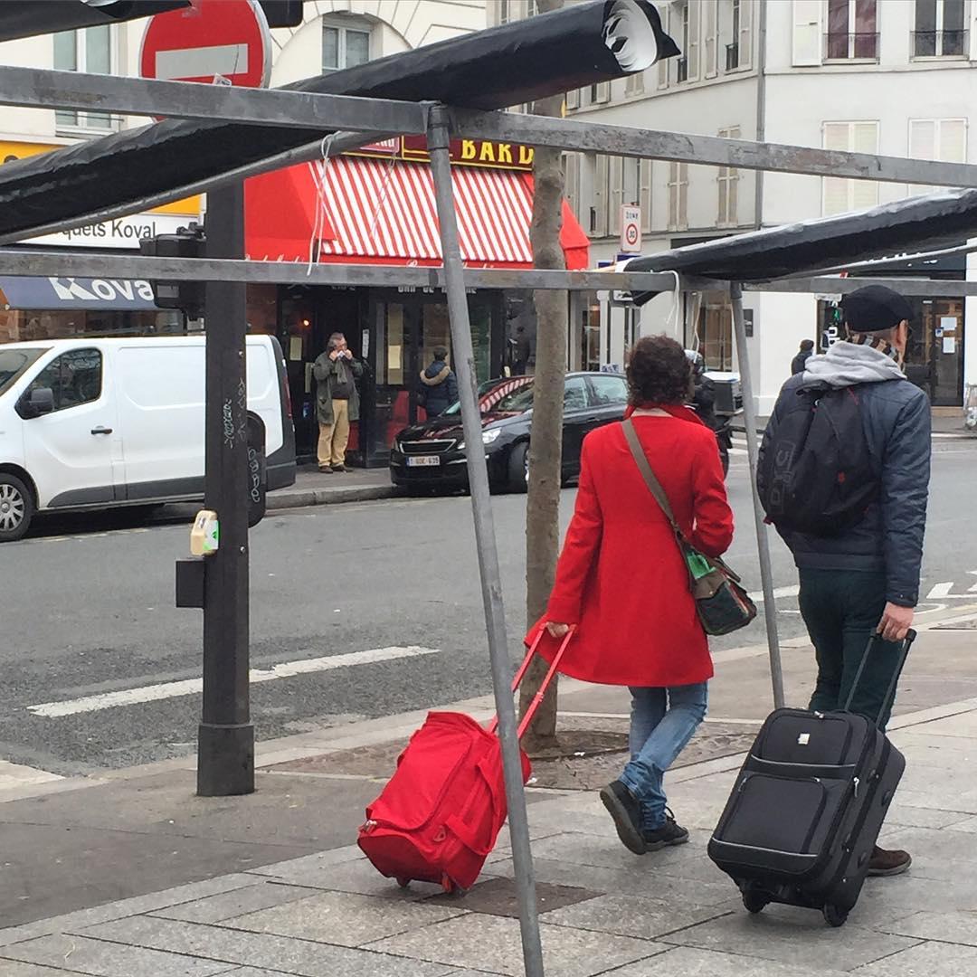 red suitcase paris