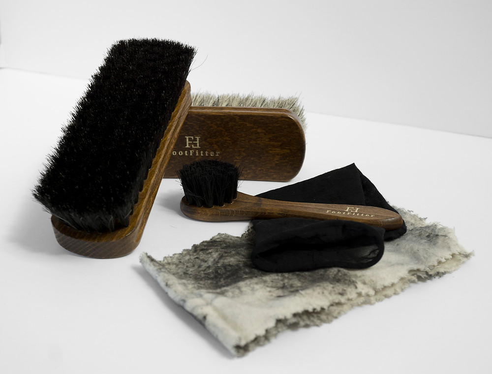 An must-have shoe shine brush set for cleaning and polishing shoes & leather. Tightly stitched with soft horsehair bristles that are gentle on leather.