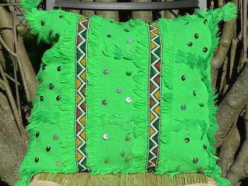 Moroccan Wedding Blanket Pillow Handira Green